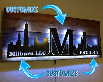 Personalize any City skyline. Chicago, New York, Los angeles, Dallas, Houston.