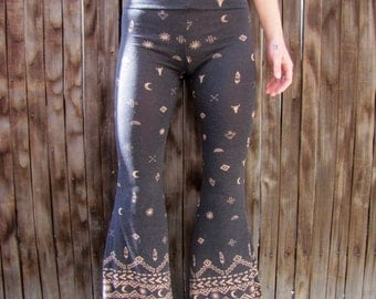 Handmade High Waisted Native Printed Cotton Bell bottoms Flares Bells