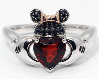 minnie mouse ears and gloves claddagh ring ruby and black diamond disney wedding engagement promise ring princess when you wish upon a star - Mickey Mouse Wedding Ring