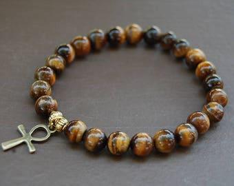 Ankh Cross Bracelet,Tiger Eye 10mm Beads,Key of Nile,Breath of Life Bracelet,Man,Woman,Pray,Yoga,Protection,Meditation,Tiger Eye Bracelet