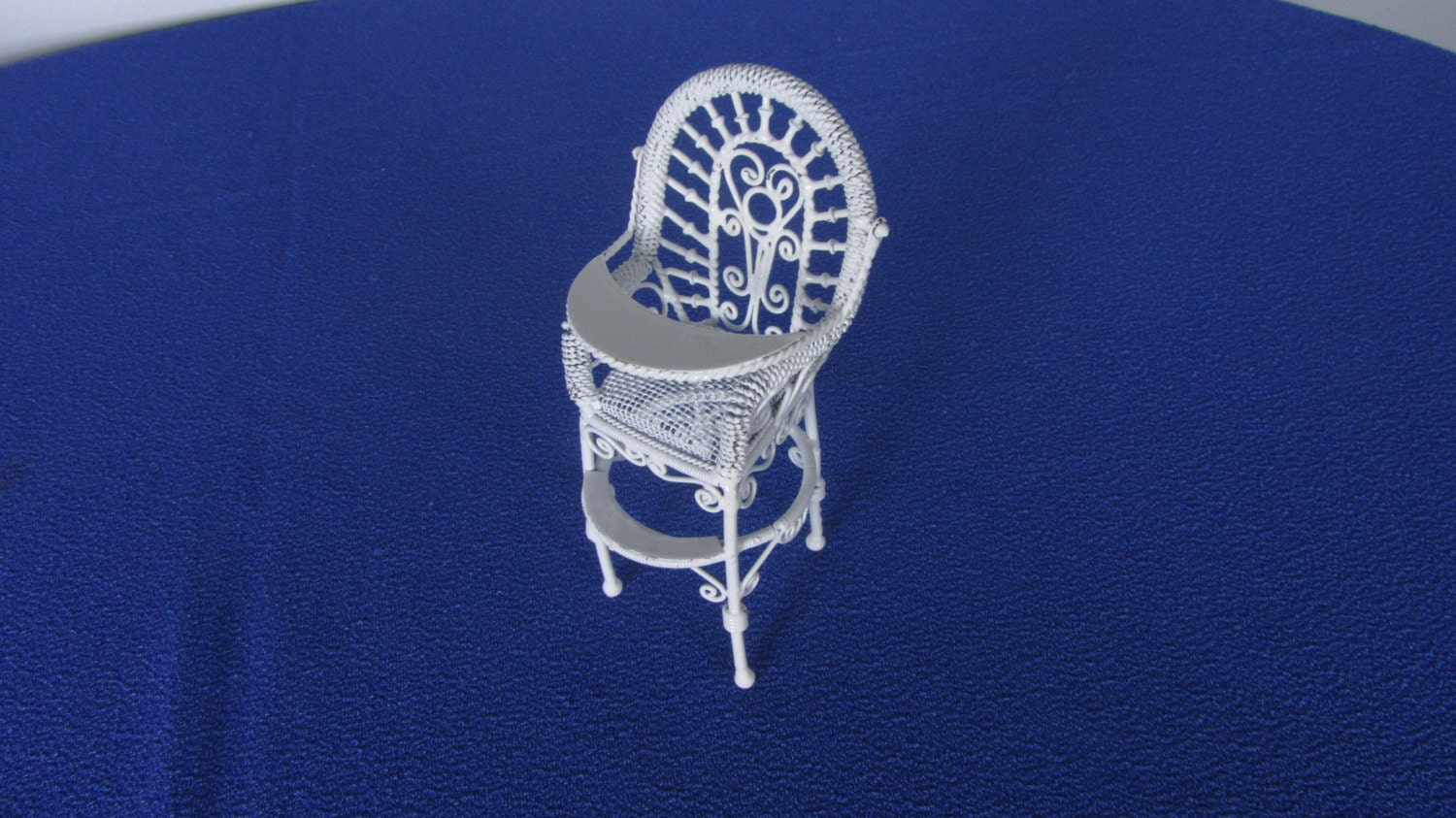 Dollhouse Miniature White Metal Chair, White Metal and Wire Chair 1:12 Scale, Vi
