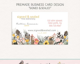 business card design floral business card premade business card florist business card calling card social card mommy card boutique card