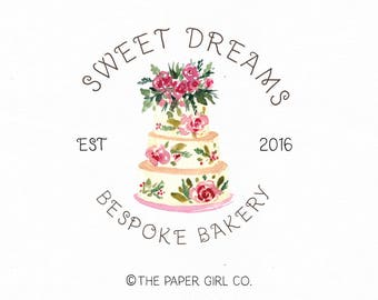 cake logo design watercolor cake logo bakery logo design bakers logo design baking logo design rustic cake logo premade logo design