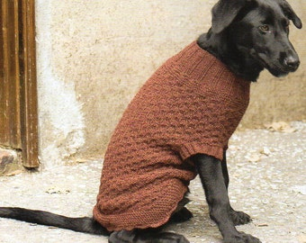 Dog Sweater Coat Knitting Pattern Knit Dog Sweater Coat Knitting Pattern Full Coverage Small Med Large XL  PDF Instant Download