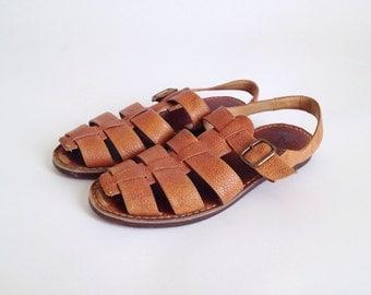 SALE Vintage Cole Haan Light Brown Pebble Leather T-Strap Sandals