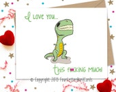 5x7 Mature I love you this F'n Much, I Love You Card, Anniversary Card, Anniversary Greeting, Funny Card, Funny Greeting Card, Fun Card