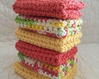 Crochet Washcloths Facewash Babywash  Dish Cloths Washcloths Hand  Crochet Exfoliation,set of 6 washcloths