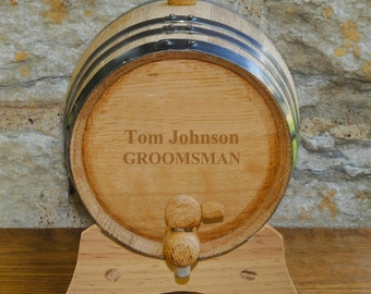 Personalized 2 Liter Whiskey Barrel - Monogrammed Whiskey Barrel - Husband Gifts - Groomsmen Gifts - Gifts for Dad (GC1028)