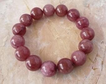 Burgundy Jade Bead Stretch Bracelet