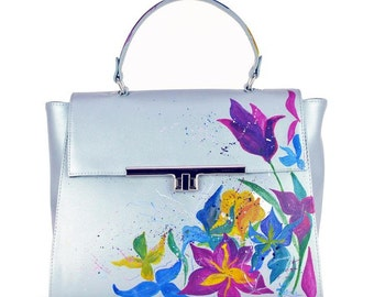 Hand Painted Fine Grain Leather Purse - Adelle Kolor Lilia Airy Blue Bag by Lyria.ro