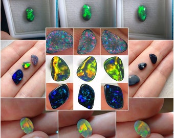 The Most EXQUISITE Australian BLACK OPAL Jewelers Set of 5 Top Assorted Opals with the Best Colors and Rare Patterns ! 6.50 Ct with Video !