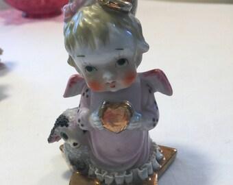 Sweet angel with lamb bud vase - kitschy spaghetti lamb - napco angel - angel bud vase - lamb bud vase - ceramic angel and lamb