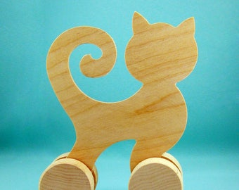 Wooden push toy Cat, Handmade Eco Friendly Toy, Wood Natural, Organic and Safe toy