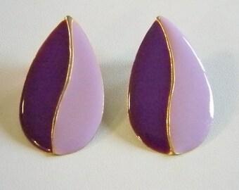 Large Enamel Purple/Lavender Pierced Earrings