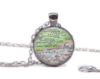 Smoky Mountains Map Pendant Map Necklace Map Jewelry Map of Smoky Mountains Necklace Map Keychain Tennessee Map Jewelry