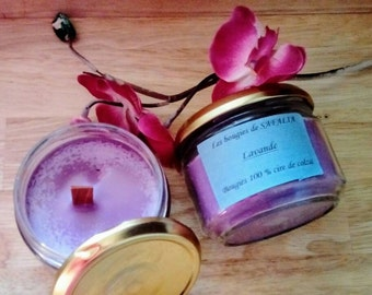 Colza Wood Wick Candles,  Candle Box Set, Scented candles lavender, purple candle, candle glass container, gift