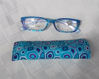 Swarovski  Crystal Reading Glasses, 3.00 Strength, Rectangular Blue Design, Sapphire and Splash of Amethyst