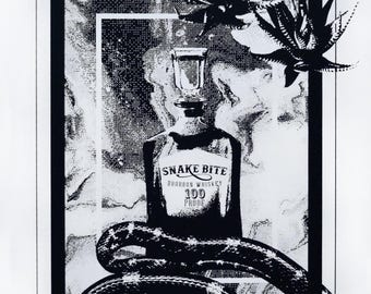 """Hand-Pulled Black and White 'Snake Bite Whiskey' Screen Print Poster 12.5""""x19"""""""