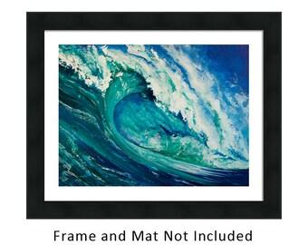 Surf Art, Tiki Painting, Original Artwork, Beach, Tiki Hut, Tropical, Surfing, Hawaii, Surfer, Surfboard, Green, Blue, Wave, Hawaiian, Ocean