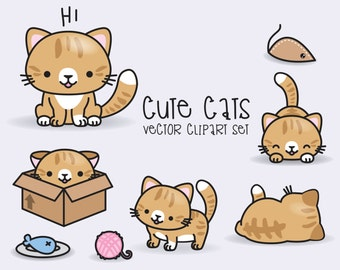 Premium Vector Clipart - Kawaii Ginger Cats - Cute Ginger Cats Clipart Set - High Quality Vectors - Instant Download - Kawaii Cats Clipart