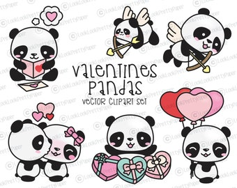 Premium Vector Clipart - Kawaii Valentines Day Pandas - Valentines Day Panda Clipart Set - High Quality Vectors Cute Valentines Day Clipart