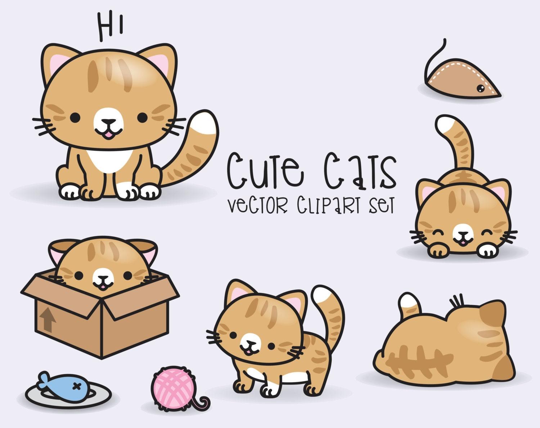 Premium Vector Clipart Kawaii Ginger Cats Cute Ginger Cats