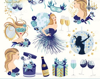 "New Year's Eve clipart: ""FABULOUS PARTY CLIPART"" with party clipart, disco ball clipart, celebration clipart, 17 images, 300 dpi. png files"