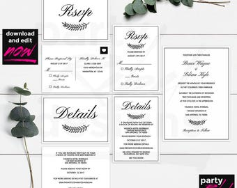 Vintage Wedding Invitation Template, Printable Wedding Invitation, Wedding Invite, DIY Wedding, Wedding Template, Editable Text, WS20
