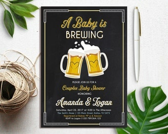 A Baby is Brewing Invitation, Co Ed Baby Shower Invitation, Beer Baby Shower Invitation, BBQ Baby Shower Invite, Couples Baby Shower