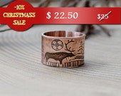Christmas sale -10%, Copper ring  Deer in forest, copper Etching Rock paintings band, Divergent ring, Fantasy ring, Fairytale illustration