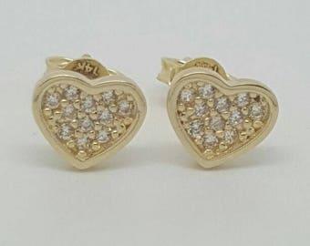 14k Solid gold heart stud earrings