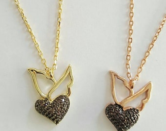 petite and dainty heart and wings necklace, gold ornrose gold vermeil, 925 sterling silver