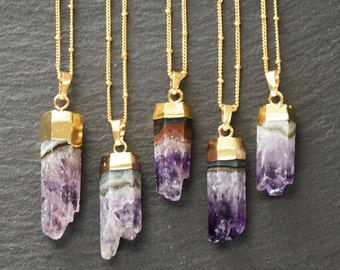 Natural Raw Amethyst Vertical Hexagon Pendant Druzy Geode Stone Necklace