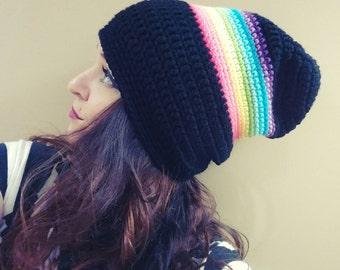 Crochet Black Rainbow Slouchy Beanie
