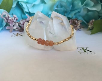 Sun Stone Gold Filled Bracelet, Stretch Bracelet, Stack Bracelet