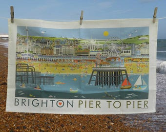 100% cotton Tea Towel - Brighton Pier to Pier