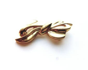 Vintage Napier Gold Large Bow Pin Brooch