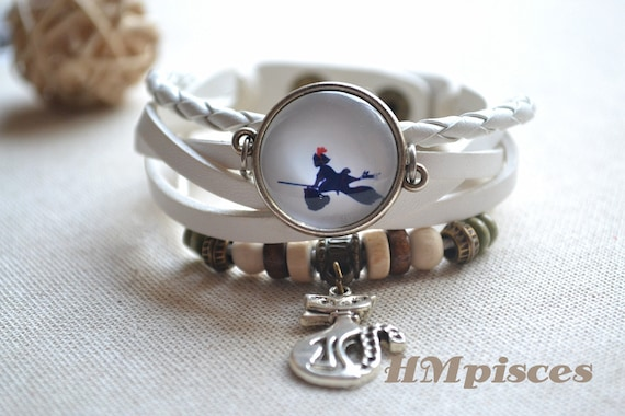 Kiki's Delivery Service ,Witch leather braclet,cat charm
