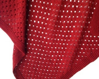 Baby Blanket - Hand Knit in Red / Cayenne 100% Organic Merino Wool.  Washable.  All Natural Fibers. SUMMER SALE!