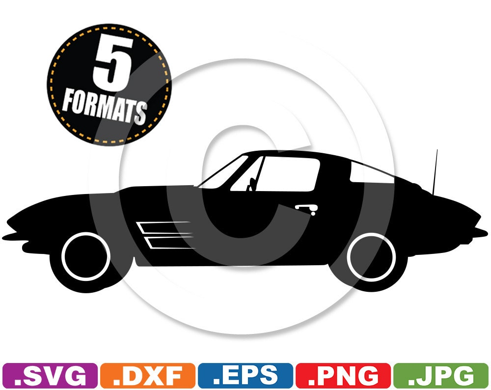 Car body sticker design eps - 1964 Corvette Stingray Silhouette Clip Art Image Svg Dxf Cutting Files For Cricut And Silhouette Machines Plus Eps Vector Jpg Png