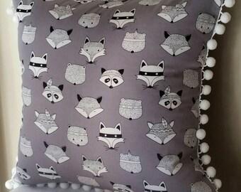 Tribal animals cushion cover, black and white on grey, cotton,  children's room decor, nursery decor, Australian handmade