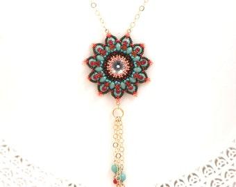 Flower statement necklace, Beaded pendant necklace, Gold turquoise necklace, Long turquoise necklace, Swarovski crystal pendant