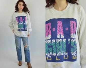 Vintage 80s sweatshirt Bag Girls club Girl power sweater Oversized sweater