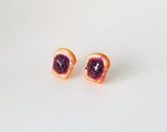 Miniature Food Earrings- Grape Jam toast - food earrings, studd earrings, fun, gifts, Kawaii, toast, bread, breakfast