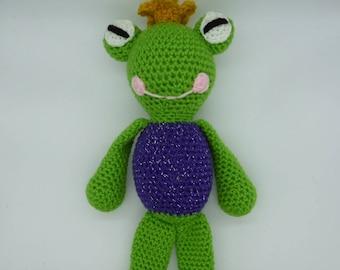 Crochet Frog, Amigurumi Frog, Frog Prince Doll, Crochet Frog Prince, Amigurumi Frog Doll, Frog Plush, Stuffed Frog Toy, Frog Crochet Toy