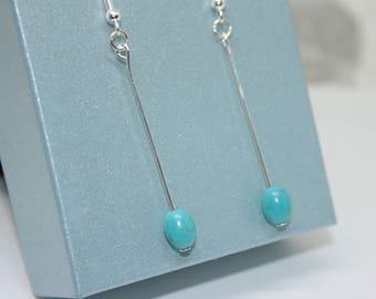 Turquoise Earrings For Women, Boho Jewellery, Summer Earrings, Gemstone Jewellery, December Birthstone, Long Drop Earrings, Sterling Silver