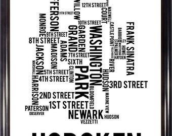 Hoboken New Jersey Neighborhood Street Map-FREE SHIPPING