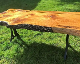 Live Edge Wood Slab Table, Reclaimed Wood Table, Raw Edge Pine Slab Table, Antique School Desk Legs, High-Low Table, Rustic, Upcycled, Recla