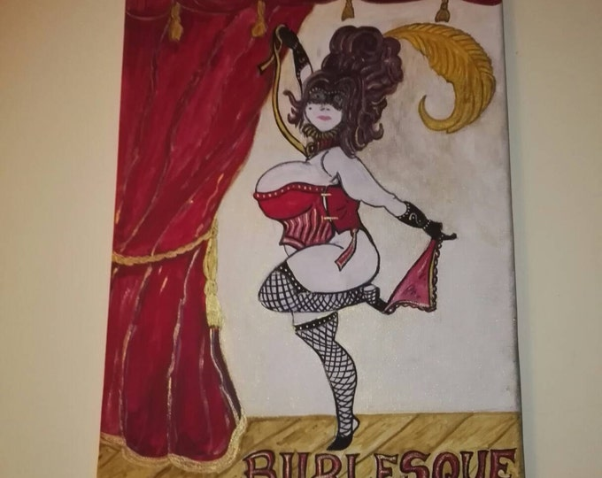 BURLESQUE Big Bess Fable 3 dancer sexy erotic large showgirl lady corset painting on canvas inspired by #fable steampunk 40 x 30 #burlesque