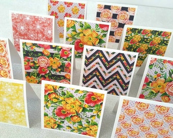 Mini thank you notecards / blank note cards / mini cards set of 12 / floral notecards / mini flower cards